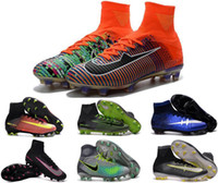 Wholesale New mercurial superfly FG kid soccer shoes boots womens boy girl high top CR7 cleats youth football sneakers soccer cleats Euro size