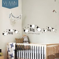 Wholesale Sheep Wall Decor - Wholesale-Cartoon Cute Jumping Sheep Fence Wallpaper Removable Wall Stickers Art Decal for Baby Kids Girl Living Bedroom Room Home Decor