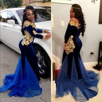 Wholesale Royal Blue Velvet Mermaid Prom Gown With Elegant Scoop Long Sleeve Applique Sweep Train Evening Dresses New