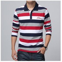 Wholesale 2017 Letters Embroidered Men Strip Polo Shirt Turn down Collar Casual Cotton Polo Shirt Red Gray Green Asian Size M XL