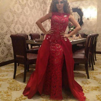 Wholesale New arrival Unique Myriam Fares Evening Dresses Glamorous Sexy Celebrity Dresses Ruched Red Lace Pageant Gowns