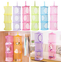 Wholesale 3 Shelf Hanging Storage Net Organizer Bag Bedroom Door Wall Closet Organizers Colors