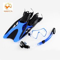 adult swim shoes - Professional scuba Diving mask Swim Fins with snorkel set adult swimming masks shoes long Snorkeling monofin Diving Flippers