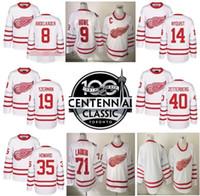Wholesale 2017 Centennial Classic Hockey Jerseys Detroit Red Wings Dylan Larkin Justin Abdelkader Gustav Nyquisi Henrik Zetterberg White