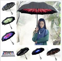 Wholesale Inverted Umbrella C Handle Self Standing Inside Out Special Design Double Layer Upside Down Double layer Windproof Umbrella deign KKA1162