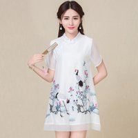Wholesale Chinese Style Women s Embroidery Dress Summer Fashion Dress New Female Folk Style Slim Size Elegant Embroidery Pattern Free Size