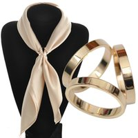 achat en gros de foulards gros anneaux-Vente en gros- BS044 Écharpe en soie Accessoires Bijoux Boucle Châle Ring Clip Écharpes Tricyclic Boucle Simple Luxueuse Fille Gif Femme