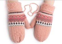 Wholesale Lovely autumn and winter students thickening warm hanging neck even means knitting wool gloves ladies winter