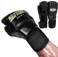 Wholesale 1 Pair PU Leather Boxing Gloves Sport Men Half Finger Muay Thai Gloves Mma Kick Boxing Training Boxing Mittens tactical Gloves