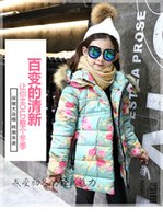 Wholesale 2016 New Korea Style Girl Overcoat Medium And Long Outer Coat Wollen Hooded Coat Floral Decorated Top Coat Suit For Big Girl