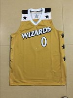 Wholesale Cheap custom Retro Gilbert Arenas Washington Basketball jerseys Gold stitching sportswear vest Throwback Mens Cheap Jersey