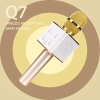 Wholesale 2017 Newest Q7 Wireless Bluetooth Handheled KTV Karaoke Microphone Mic Speaker For Phone and Smart Phone With Original Retail Box