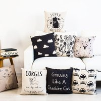 Wholesale Simple black white geometric cotton linen cushion CORGIS Cheshire Cat Black Cloud Plants flower Curly Sheep decorative throw pillow for sofa