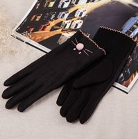 Finger Gloves Organic Cotton Woman Ms faux suede gloves female cute students and pile driving cycling gloves to keep warm winter thin touch screen gloves