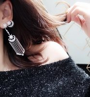 Wholesale The moon and the stars in the elegant Tassel Earrings asymmetric sterling sivler female women girl stud jewelry