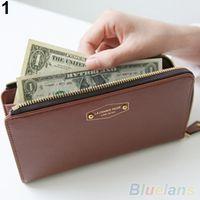 Venta al por mayor-Mujer monedero tarjeta de teléfono titular de embrague monedero falso cuero Zip largo bolso monedero 1UCB