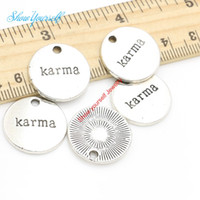 Wholesale Tibetan Silver Plated Word Karma Charms Pendants for Jewelry Making DIY Handmade mm A112