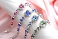 Acheter Coeurs bleus-Bijoux Fantaisie Femme Rose / Bleu / Vert / Blanc Couleur Bracelets Cristal Bracelet Femme Bracelet Chaînes Argent Cadeaux d'amour 10PCS