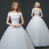 Wholesale Europe and the United States section of the word shoulder big code wedding dress European simple temperament show thin wedding