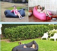 Wholesale Outdoor folding rapid air inflatable lazy sofa cushion beach bed sleeping bag portable can moved bed