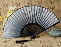antique japanese prints - Ladies boutique printing landscape as a Lady of luxury folding fans bamboo fans Chinese high end hand painted Silk printing Compact