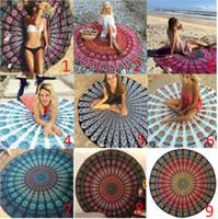 Wholesale 2017 Round Mandala Beach Towels Printed Tapestry Hippy Boho Tablecloth Bohemian Beach Towel Serviette Covers Beach Shawl Wrap Yoga Mat