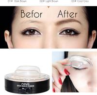Wholesale 2017 New Eye Makeup Eyebrows Styling Tool D Easy to Wear Waterproof Black Brown Eyebrow Powder Makeup With Brow Stamp Brush