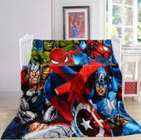 Wholesale Super soft flannel blanket around the cartoon Captain America nap blanket multifunction Fleece blankets soft and comfortable room is essen
