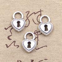 antique padlocks - Charms padlock heart key mm Antique pendant fit Vintage Tibetan Silver DIY for bracelet necklace