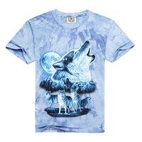 Crew Neck amazing fox - Amazing T shirt For Men D Printed T shirt Short Sleeve Animal Blue Fox Wolf Pattern Bandhnu Plangi Fashion Style Cotton