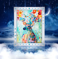 Wholesale DIY Diamond Painting Embroidery D Colorful Deer Cross Stitch Crystal Square Home Bedroom Wall Art Decoration Decor Craft Gift