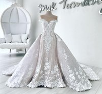 Wholesale Luxury Full Lace Mermaid Wedding Dresses With Detachable Train Flower Applique Bridal Gowns Sheer Neck Short Sleeve Country Wedding Dress