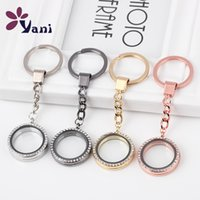 Wholesale Alloy Metal Keychain with mm Round Shape Floating Locket Pendant with Rhinestone Mix Colors