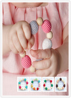 Wholesale Crochet Nursing Toys Wholesale - 2016 Baby Wooden Teething training Children Chews Baby Teeth Stick baby Crochet nursing toy - teething crochet rainbow colour crochet bead