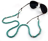 Wholesale GL011 pc fancy eyewear accessories metal flower mm turquoise stone ladies eyeglass chains