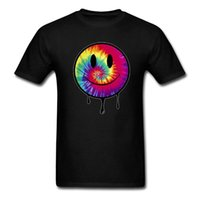 acid t shirts - Summer Smiley Face Mens T Shirt Harajuku Colorful Acid Dripping Tie Dye Style T shirts Rave House Music Dubstep Cotton Shirts