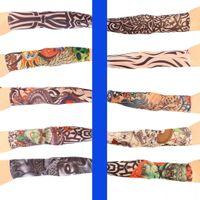 Wholesale Multi colors Superfine fiber elastic Fake temporary sleeve designs body Arm stockings tatoo for cool men women Fashion