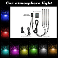 Wholesale LED Car Interior Underdash Lighting Kit Sound Activated Control Atmosphere Lamp Strip Glow Neon Wireless control Multi Color Lights