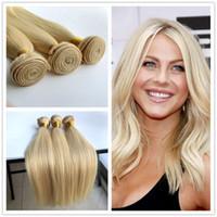 Wholesale 10 quot quot Brazilian Virgin Straight Blonde Hair Weft Weave Color Straight Hair Weave Russian Blonde Bundles Hair Extensions