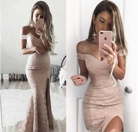 Reference Images Trumpet/Mermaid Off-the-Shoulder New 2017 Modest Sheath Full Lace Prom Dresses Vestidos Off The Shoulders Formal Evening Dresses Cheap Side Split Evening Gowns