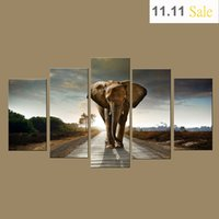 Wholesale Wall Art Prints Canvas Elephant Painting from Digital Picture Print on Canvas Modern Panel Wall Art for Home Decor