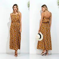 al por mayor vestidos de sol de color amarillo-Cintura Elástica Amarillo Vintage Long Sun Vestido De Cuello De Impresión De La Flor De Alta Cintura Suspender Maxi Vestido