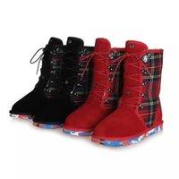australia luxury boots - Hot Sales Women Winter Brand Fashion Warm Australia Snow Short Boots Lace Up Casual Luxury Designer Plush Half Boots Size