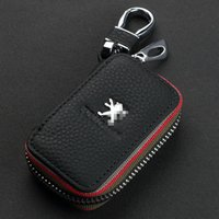 Wholesale NEW Car Key Case Premium Leather Chains with Holder Zipper Remote Wallet Bag cover accessories for Ford Peugeot Citroen Auto