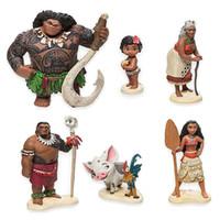 Wholesale 6pcs set cm Moana Princess Maui Chief Tui Tala Heihei Pua Action Figure Brinquedo Toys For Children New Year Gift