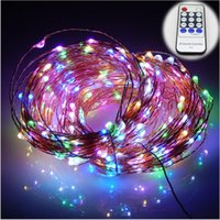 adapter decors - 33Ft LED Copper Wire string lights LED Fairy Lights for Outdoor Christmas Wedding Party Decor V DC Power Adapter