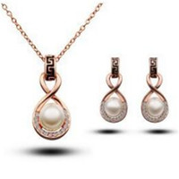 Wholesale Fashion Pearl Diamond Jewelry Set DHL Charm Pearl Jewelry Sets Crystal Necklace Earrings Noble Jewelry for Women Bride Set