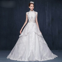 Wholesale Dress hanging neck collar princess skirt long tail New winter Pregnant women the bride Give a toast suit