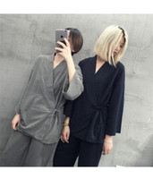 Wholesale Pajamas Pure Cotton Cardigan Cardigan Japanese kimono suit simple casual home clothing