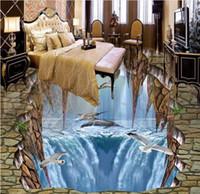 bedroom floor tile - 3d floor wallpaper murals Customized d stereoscopic wallpapers for living room Marine dolphins d floor tiles